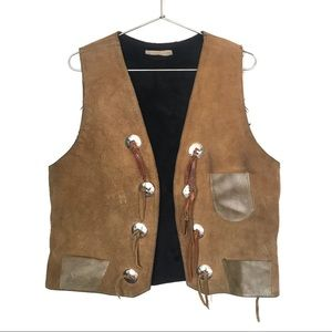Vintage Genuine Leather Concho Vest